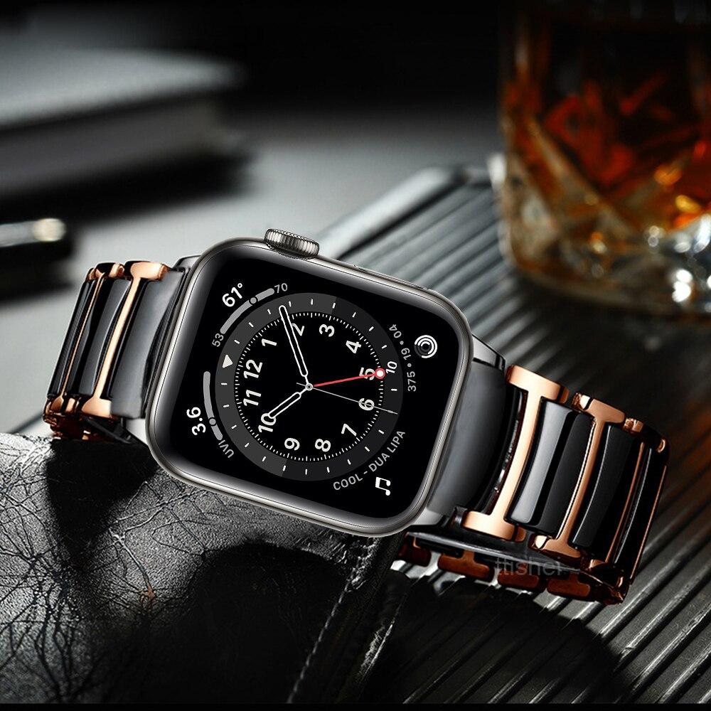Apple watch strap 6 44mm 40mm se strap series 5 4 luxury ceramic stainless steel strap Iwatch 3 42mm 38mm