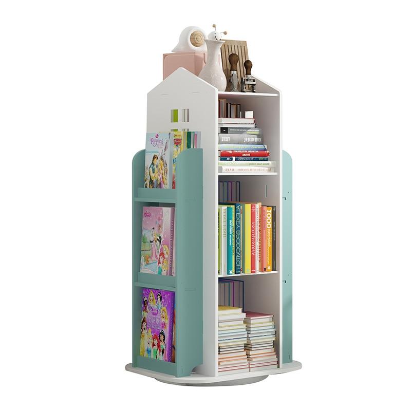 360° Rotating Children's Bookshelf Cartoon Books Rack Floor Simple Child Book Shelf For Home Bookcases Furniture