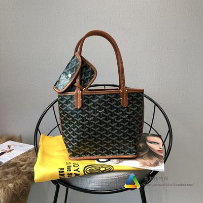 ♛ヮGoyard Goyard Goyard กระเป๋าผ้าใบหนังแท้มินิกระเป๋าช้อปปิ้ง Tote ฟันสุนัขตะกร้าผักกระเป๋าโท้ทแบบพกพา
