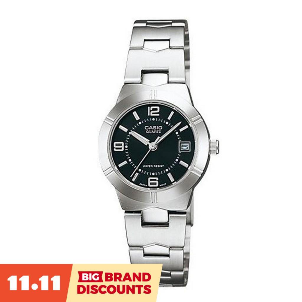 【BIG BRAND DISCOUNTS】Casio  นาฬิกาข้อมือผู้หญิง สายสแตนเลส รุ่น Ltp-1241D-1Adf - สีเงิน/ดำ