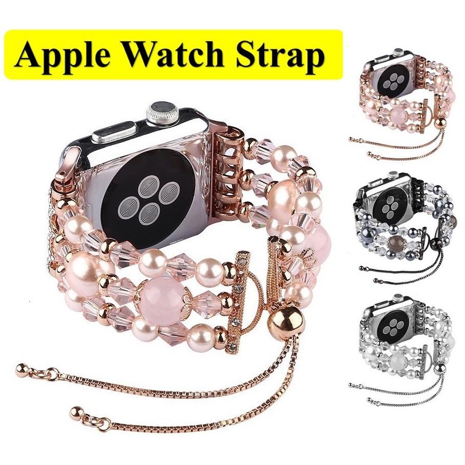 ฟุ่มเฟือย เพชรพลอย สายนาฬิกา Apple Watch Straps เหล็กกล้าไร้สนิม Luxury Handmade Jewellery Pearl สาย Applewatch Series 6