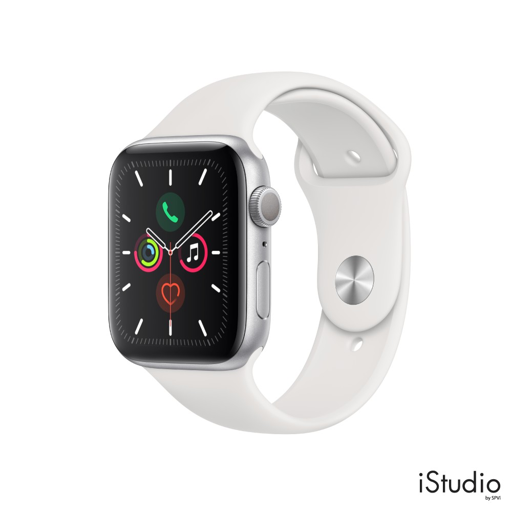 Apple Watch Series 5 GPS (Silver Aluminum Case, White Sport Band)