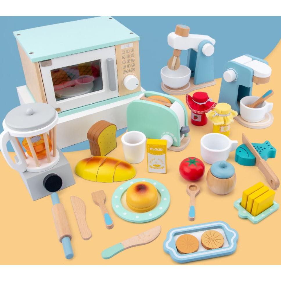 ของเล่นจำลอง โมเดลไม้ เครื่องทำขนมปังไม้ เครื่องชงกาแฟ เครื่องทำแพนเค้กผสม ของเล่นเด็ก บทบาทสมมติ