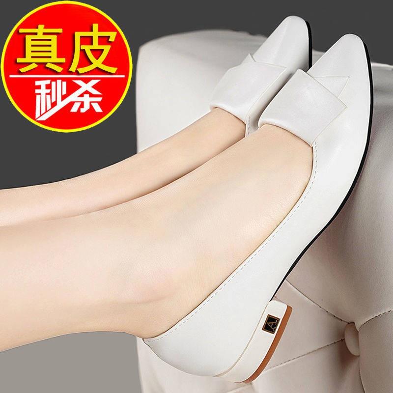 รองเท้าผู้หญิง รองเท้าคัชชู ร้องเท้า ☜Hong Qingmei หนังรองเท้าแบนเด็กฤดูใบไม้ผลิและฤดูใบไม้ร่วงใหม่แหลมป่าหนากับรองเท้าเ