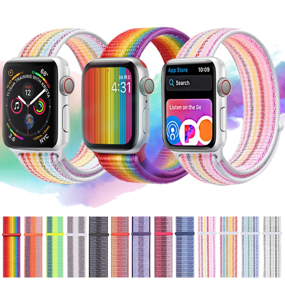 Apple Watch SE 6 5 4 3 2 1 Nylon Loop สายนาฬิกาข้อมือ iWatch Series 6 SE 5 4 3 2 1 42 มม. 38 มม. 40 มม. 44 มม ไนลอน band