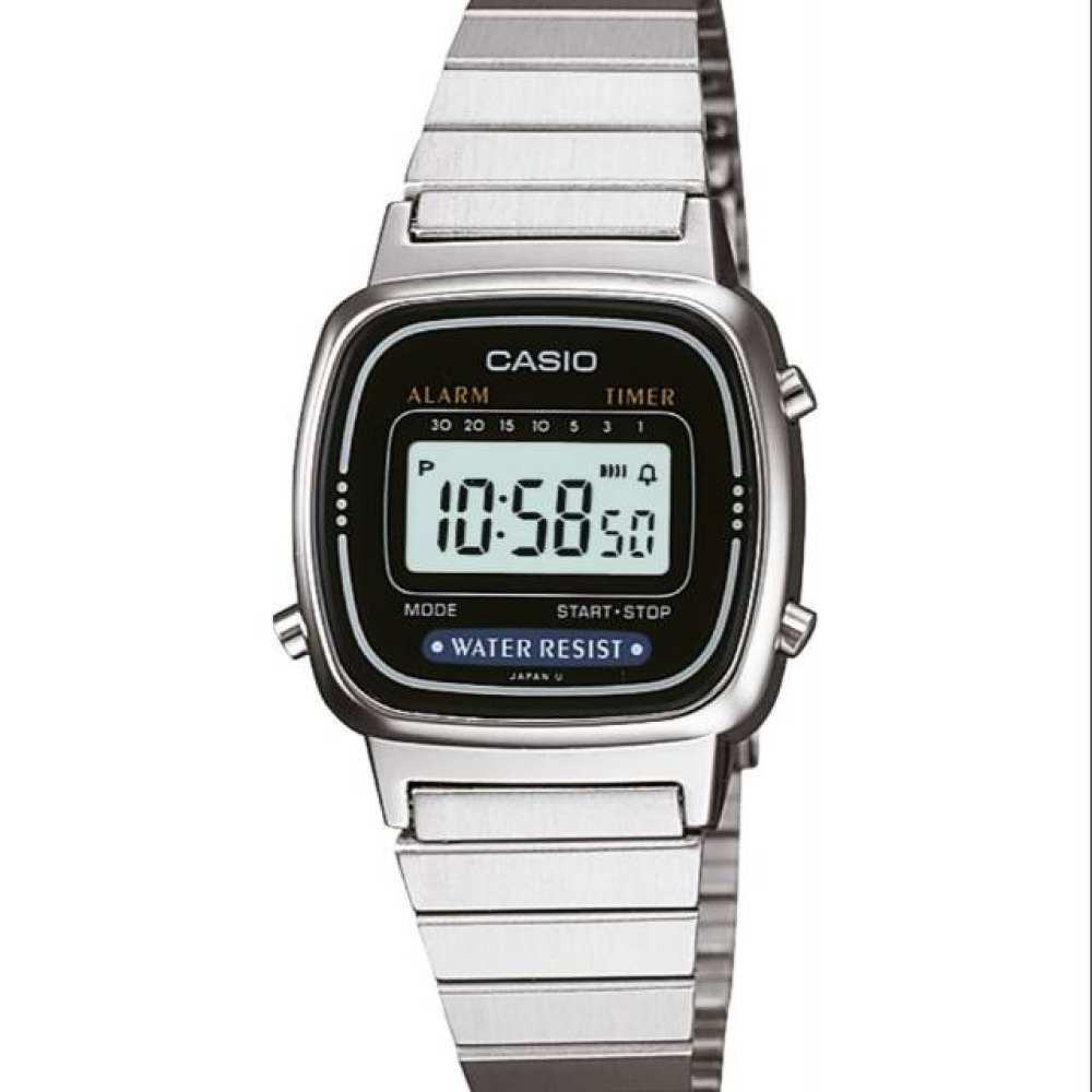 จัดส่งฟรีนาฬิกา รุ่น LA670WEGB CASIO นาฬิกาข้อมือมือ นาฬิกาผู้หญิง DIGITAL สายสแตนเลส รุ่น LA670WEGB-1B สีดำ ของแท้100%