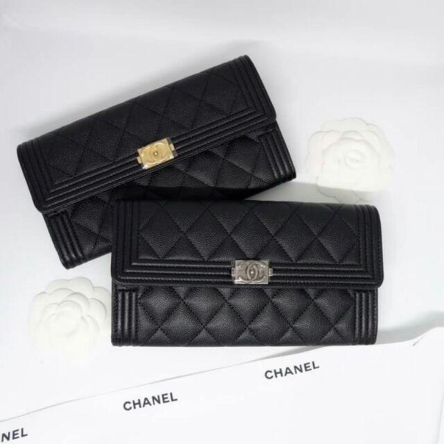New Chanel boy sarah wallet caviar