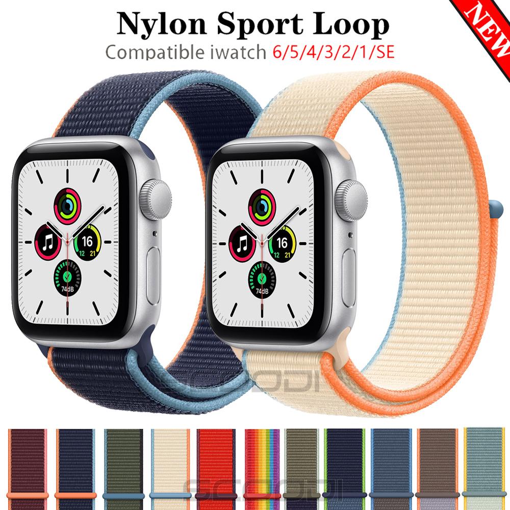 สายนาฬิกาไนล่อนสําหรับ Apple Watch Band 44 มม . 40 มม . 42 มม . 38 มม . Iwatch Series 6 Se 5 4 3 2 1