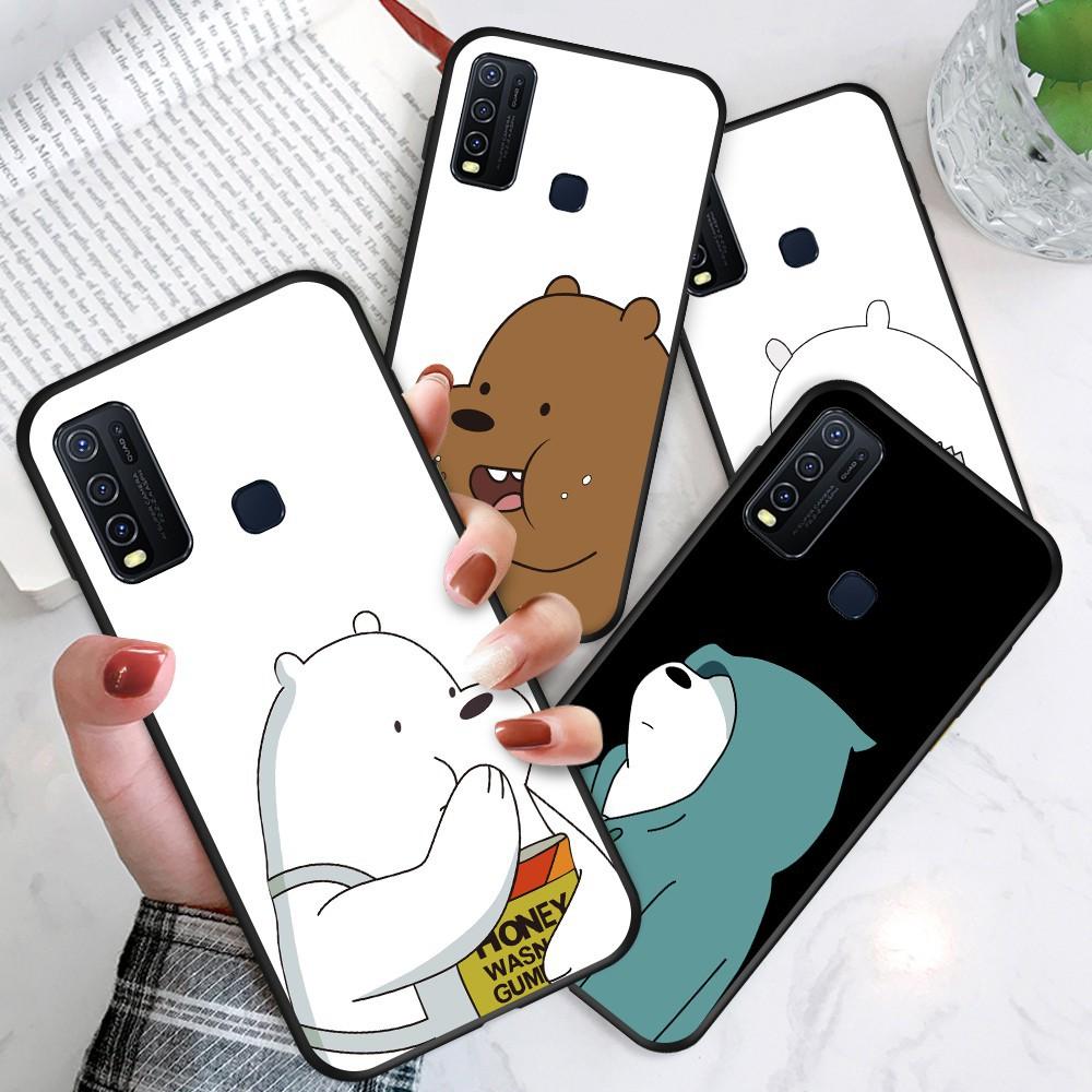 Infinix Hot 9 Play Hot 8 Smart 4 S5 Lite S5 Pro NOTE 7 X650 X652 X653 X690 X680 สำหรับ Soft Case Silicone Casing TPU Cute Cartoon Lovely Brown White Stupid Bear Phone Full Cover simple Macaron matte Shockproof Back Cases เคสโทรศัพท์ เคสมือถือ เคสซิลิโคน