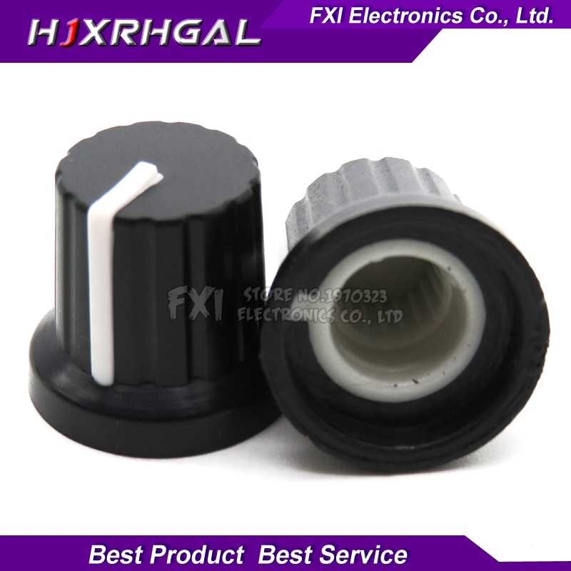 10Pcs 6mm Shaft Hole Dia Plastic Threaded Knurled Potentiometer Knobs Caps NEW