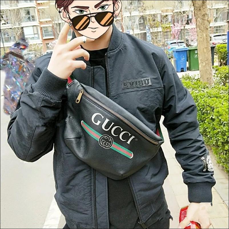 GUCCI Print leather cowhide belt bag กระเป๋าคาดหน้าอก