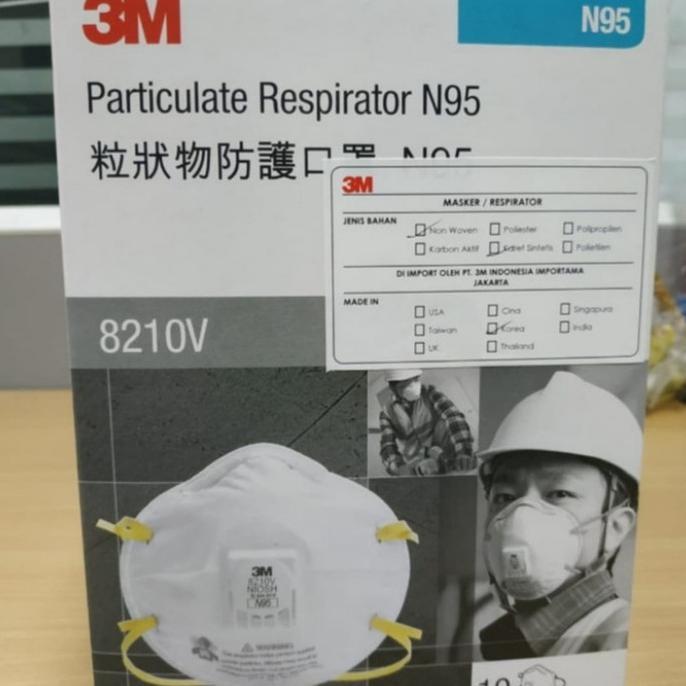 N95 Mask - 3m N95 8210v แผ่นมาส์กหน้า 3m สําหรับบํารุงผิวหน้า 1 ชิ้น