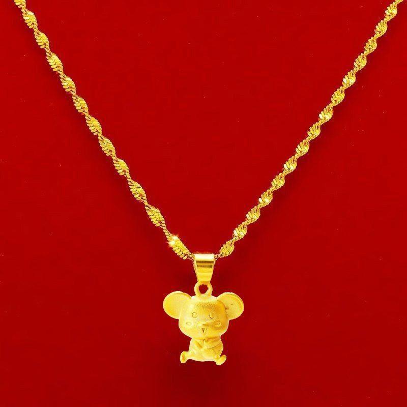 №☃✕[ลดราคา] (ซื้อหนึ่งชุดและได้รับหนึ่งชุด) สร้อยคอทองคำขาวเวียดนามหญิงชุบชาจินไหปลาร้าสร้อยคอผู้หญิงของขวัญเครื่องประ
