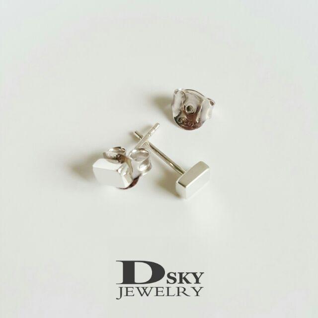 ต่างหูเงินแท้925 คิวบิกสี่เหลี่ยมผืนผ้า ต่างหูแฟชั่น สไตล์มินิมอล(Minimal) ชุบทองคำขาว ไม่ลอกไม่ดำ ต่างหูราคาถูก