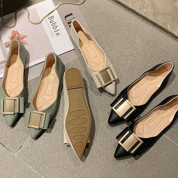 ⭐️รองเท้าผู้หญิง รองเท้าคัชชูหัวแหลม 💘รองเท้าส้นแบน รองเท้าแฟชั่น รองเท้าผู้หญิงส้นเตี้ย นิ่มมากไม่เจ็บเท้า❤️