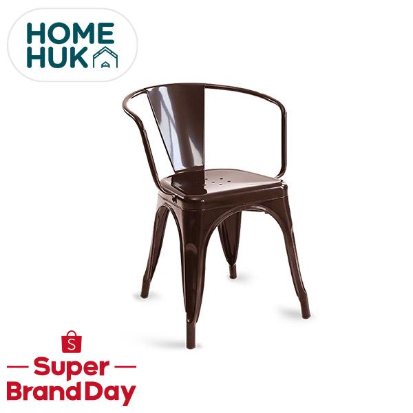 [ส่งฟรี ลดเพิ่ม8%] HAKONE เก้าอี้เหล็ก มีพนักพิงหลัง (ดำ, น้ำตาล) เก้าอี้ Industrial Retro chair Loft DC-1846 Homehuk