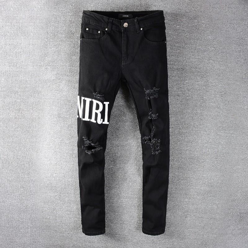มีความยืดหยุ่นAMIRI Amiriบางกางเกงกางเกงยีนส์โคบาลสีดำรูการพิมพ์ amiri jeans
