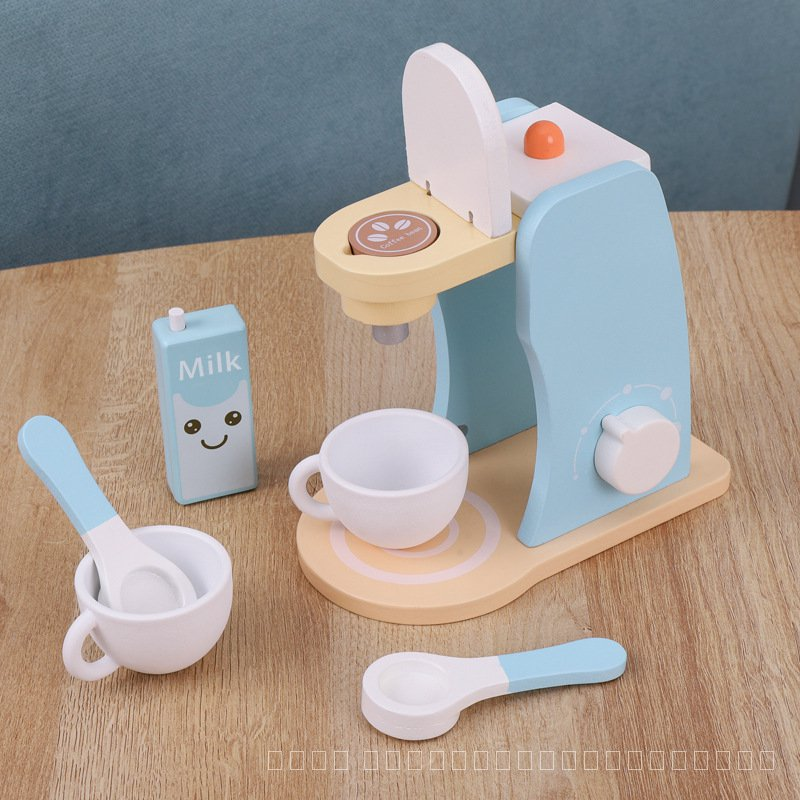 เด็กครัวกาแฟเครื่องของเล่นเด็กชุดทำอาหารPretend Playเครื่องครัวไม้Montessoriของเล่นเพื่อการศึกษาสำหรับหญิง