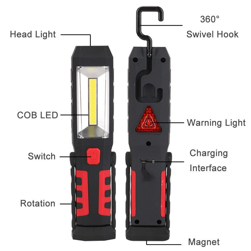 2 in 1 USB Rechargeable COB LED Camping Work Inspection Light Lamp Hand Torch~PZ