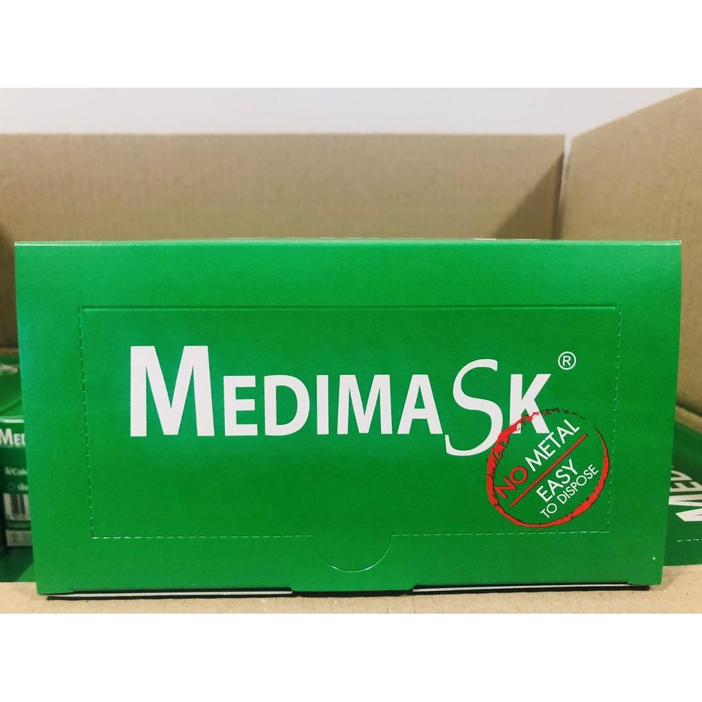 Medimask ผ้าปิดจมูกสีเขียว หน้ากากอนามัยสีเขียว 3ชั้น 1 กล่อง มี 50ชิ้น  ของแท้ พร้อมส่ง