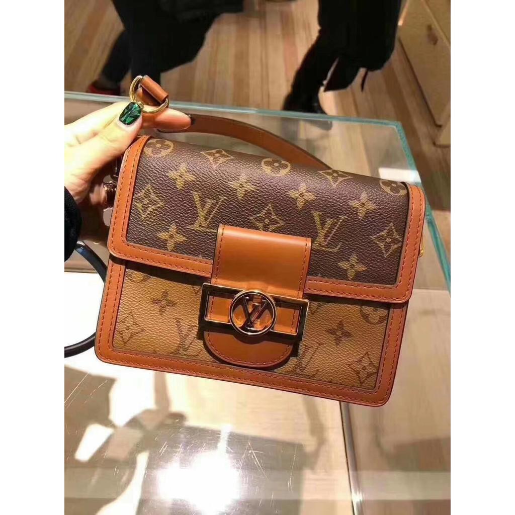 わ♁ กระเป๋ากระเป๋าเดินทาง ของแท้ LV Louis Vuitton กระเป๋าผู้หญิงใหม่ Dauphine กระเป๋าสะพายข้าง Daphine กระเป๋าสะพายข้าง m