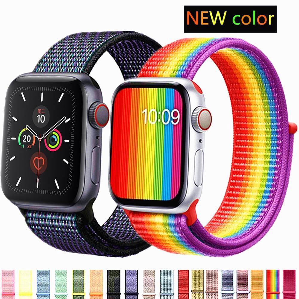 Xumu Strap For Apple Watch Band 42mm 38mm Series 6 4 3 5 2 Band Sport Loop iwatch 44mm 40mm Nylon Wrist Bracelet Watchband