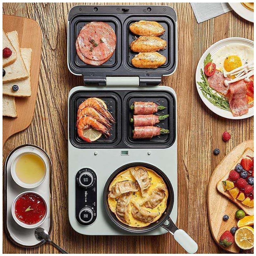 เครื่องทำแซนวิชเครื่องทำอาหารเช้าเครื่องทำอาหารเบา ๆ ในครัวเรือนเครื่องปิ้งขนมปังสารพัดประโยชน์ขี้เกียจกดเครื่องปิ้งขนมป