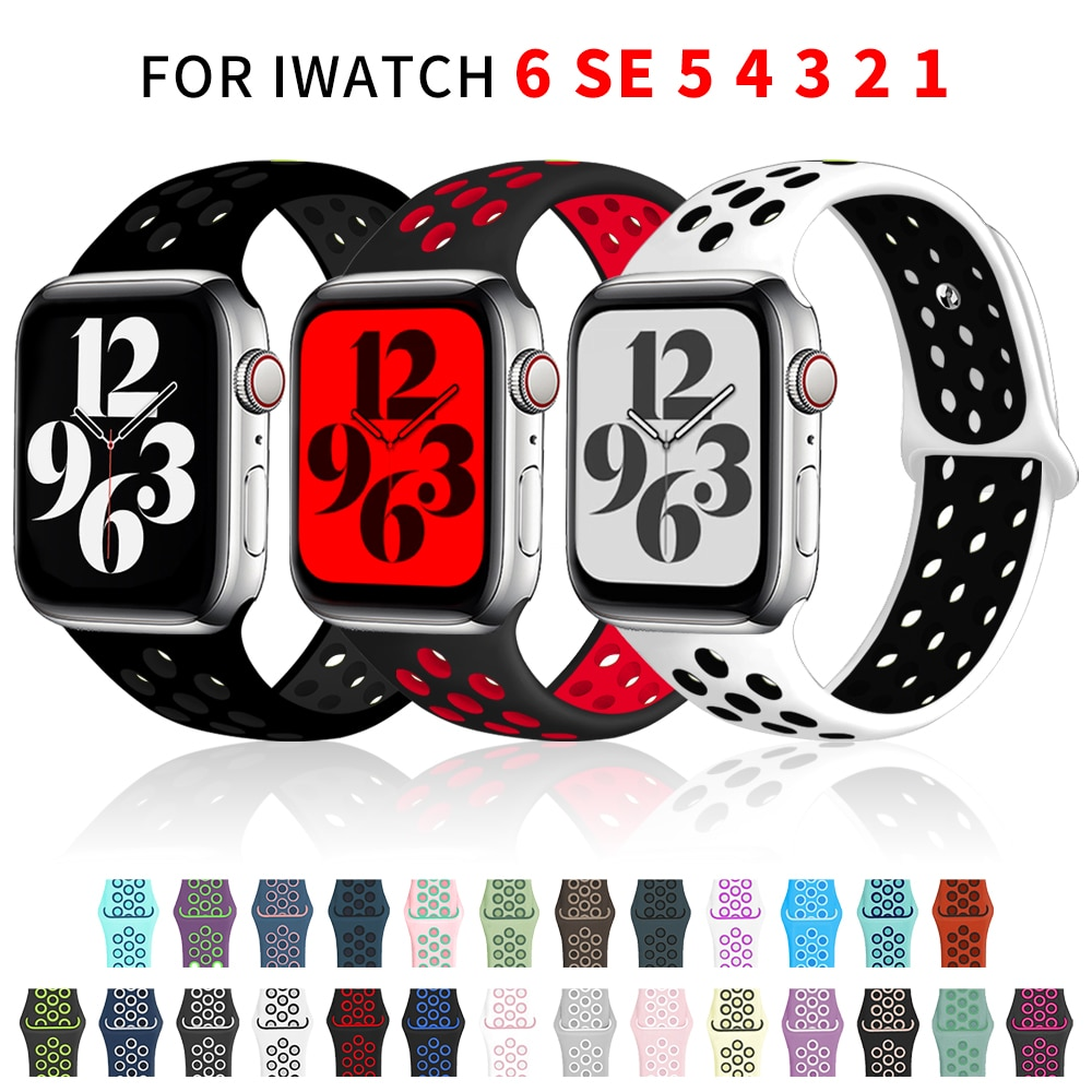 Sport Silicone Strap For Apple Watch Band 6 SE 5 4 44mm 40mm Breathable Belt Bracelet to iWatch Watchband Series 54321 3