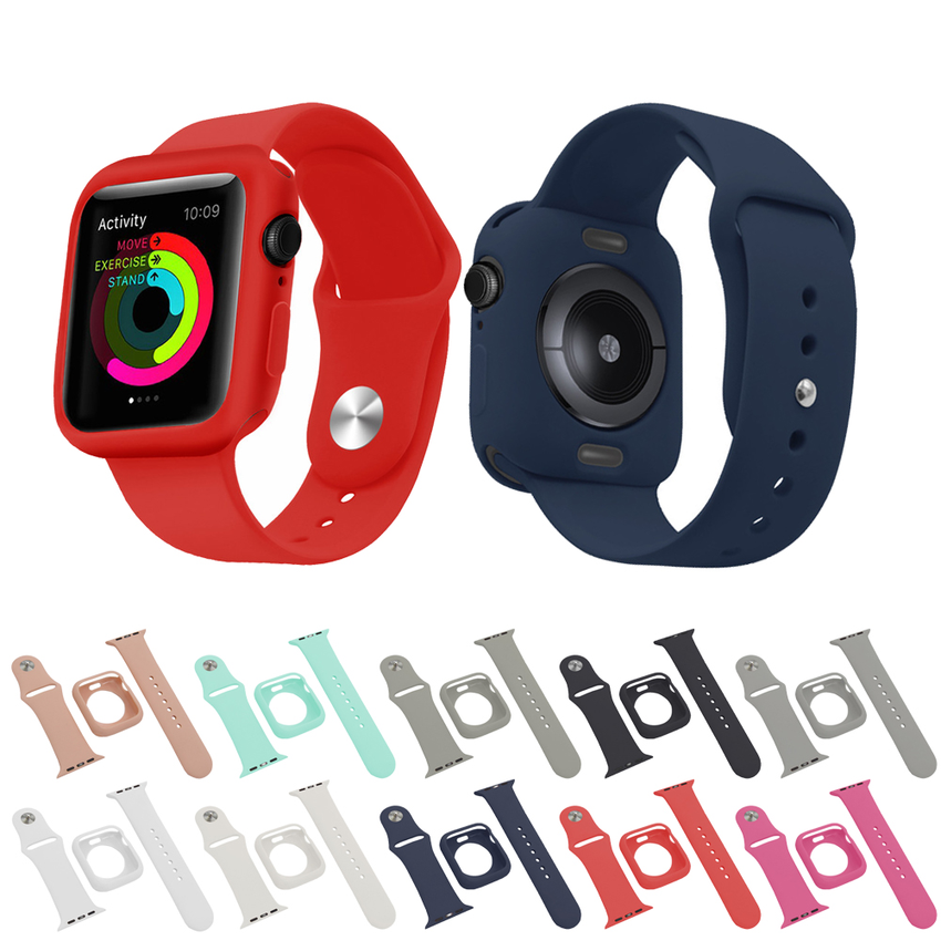 Colorful Strap For Apple Watch 44mm 40mm 42mm 38mm For iwatch Series 5 4 3 2 1 Soft Silicone Protective 2 In 1 Case and Band Bracelet Suit Cover Strap