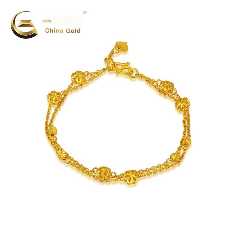 ☎☏ทองจีนเครื่องประดับทองคำบริสุทธิ์ Double Six Petal Hollow Flower Bracelet Women s Gold Jewelry (ราคา)