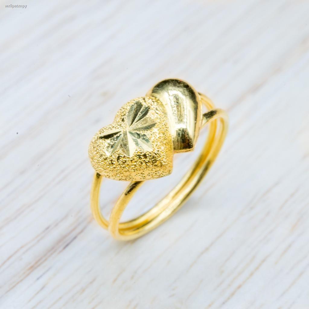 ราคาต่ำสุด✻⭐️ แหวนทองแท้ ลายหัวใจคู่ น้ำหนักครึ่งสลึง