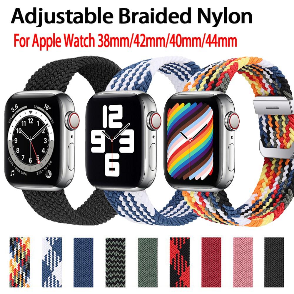 สาย applewatch สายนาฬิกา applewatch สาย applewatch ปรับได้ ชนิดผ้าถัก สายเดี่ยว สำหรับapple watch 6 se 5 4 3 2 1 ขนาด 40