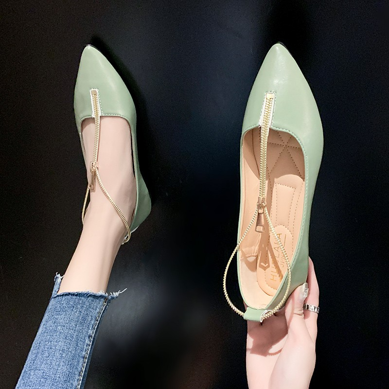 รองเท้าคัชชูหัวแหลมผู้หญิงสไตล์เกาหลีซิปส้นสูงรองเท้าแฟชั่นรองเท้าถั่ว