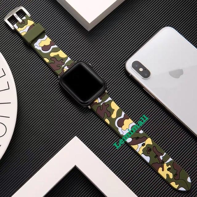 เคส applewatch สายนาฬิกาข้อมือ สาย สำหรับ AppleWatch 42 มม. 38 มม. 40 มม. 44 มม. series 6  5 4 3 2 1สายยางทหาร 8KSA