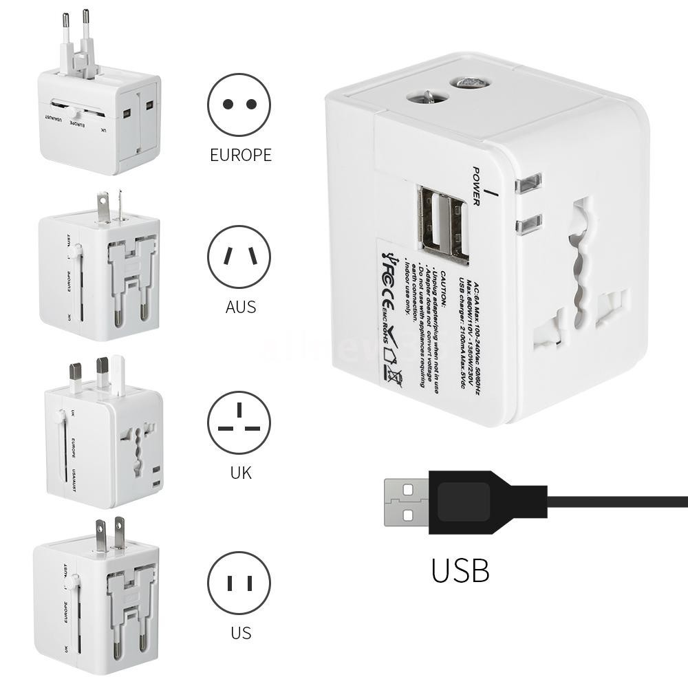 Universal Power Adapter Electric Converter US//AU//UK//EU-USB Global Travel-Outlet