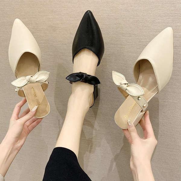 รองเท้าคัชชูเปิดส้น รองเท้าคัชชูเปิดส้นผู้หญิง รองเท้าส้นสูงฝรั่งเศสหนาด้วยหัวแหลมกึ่งเสื้อกันหนาว 2021 ฤดูร้อนใหม่นางฟ้