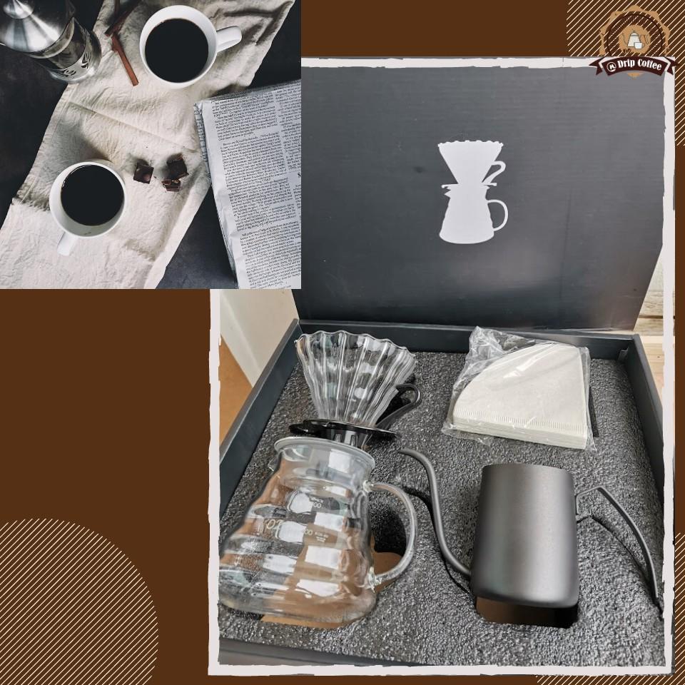 ชุดดริปกาแฟ ชุดชงกาแฟดริป ชุดทำกาแฟดริป พร้อมกล่องจัดเก็บ เครื่องชงกาแฟ โถแก้วดริปกาแฟ 600 ml. ชุดของขวัญ