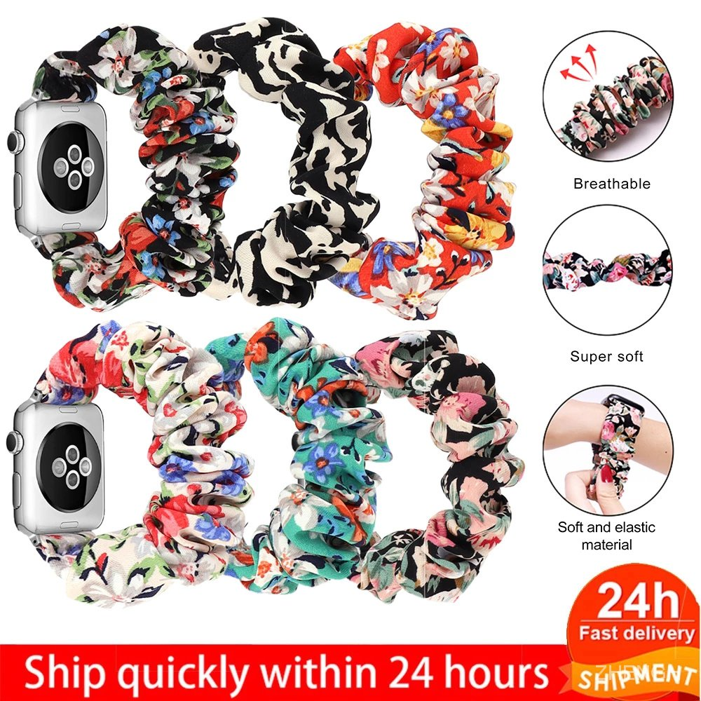 Scrunchie Strap for Apple watch band 40mm 44mm 42mm 38mm 42 mm Elastic Nylon Solo Loop bracelet iWatch series 6 5 4 3 se band