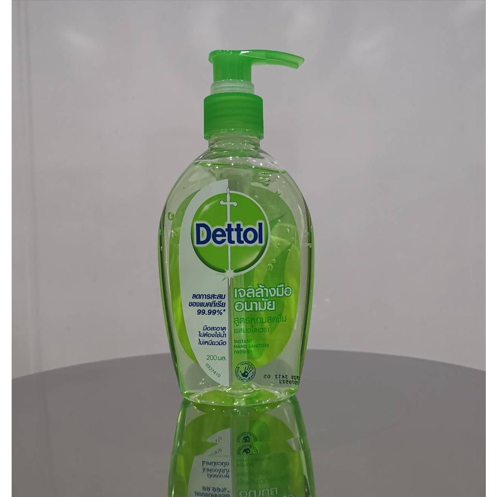 Dettol เจลล้างมืออนามัย ขนาด 200 ml.สูตรหอมสดชื่นผสมอโลเวร่า ลดการสะสมของแบคที่เรีย 99.99% มือสะอาดไม่ต้องใช้น้ำ gel อาบ