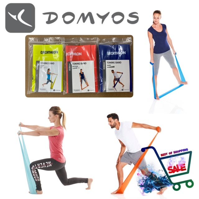 ยางยืดออกกำลังกาย ยางยืดกายภาพบำบัด ยางยืดโยคะ ฟิตเนส พิลาทิส แรงต้าน 3 ระดับ Domyos แท้ 💯% PILATES BAND HARD