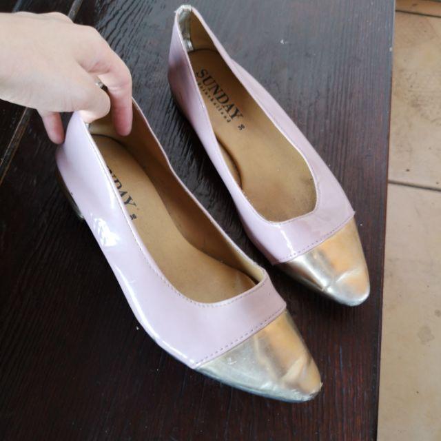 รองเท้าหุ้มส้น รองเท้าคัชชู หนังแก้ว ส้นเตี้ย 36