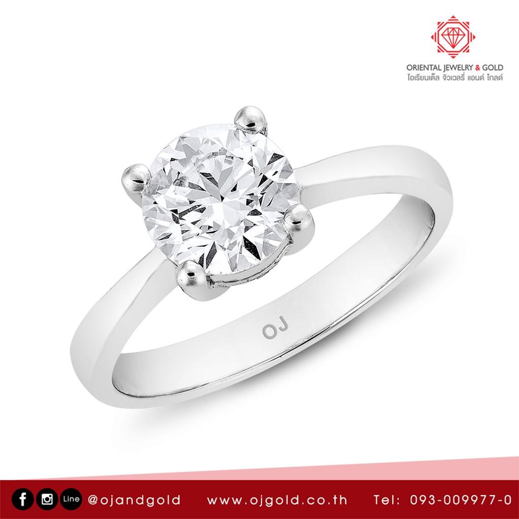 [ผ่อน 0% 10 เดือน] OJ GOLD แหวนเพชรแท้ ทองแท้ มีใบเซอร์ GIA น้ำ 95  มีใบรับประกัน ส่งฟรี kerry DENDROBIUM  WEDDING RING
