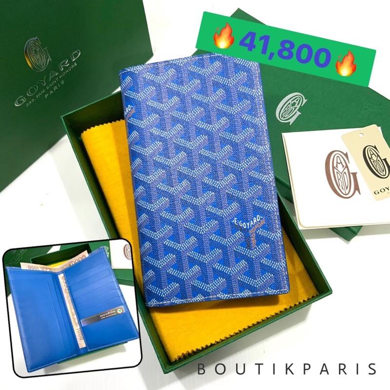 สต๊อคพร้อมส่ง New Goyard Long Bi Fold Wallet in Light Blue กระเป๋าสตางค์ใบยาว ใส่แบงค์ด้านบนได้