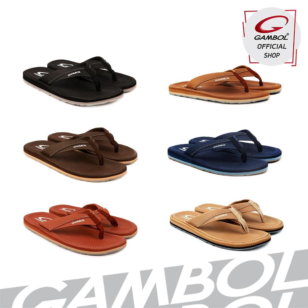 Gambol แกมโบล รองเท้าแตะลำลองชาย Gm11324 สีดำ, น้ำตาลเข้ม, น้ำตาลอ่อน, ครีม, กรม, อิฐ Size 40-44.