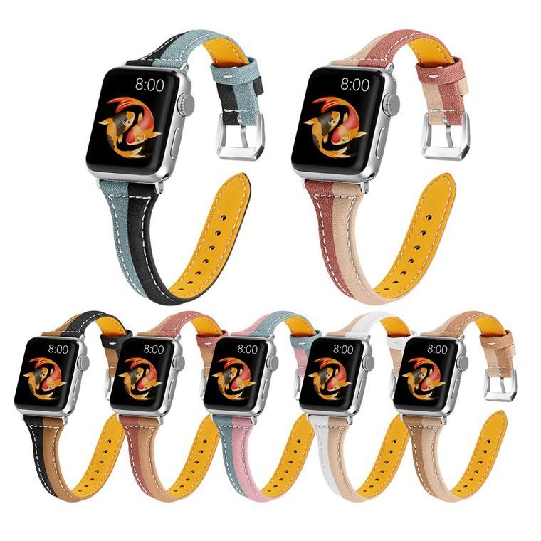 สายหนัง Apple Watch Band ขนาด 38 มม. 40 มม. 42 มม. 44 มม. สายหนังแท้พรีเมี่ยม iWatch Series 6 5 4 3 2 1,  Apple Watch SE สาย Applewatch มีทุกขนาด ทุก Series สายหนัง Leather Band