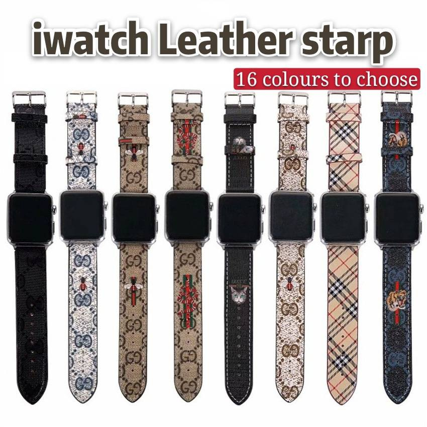 Grid Color Matching Leather watch Strap Apple Watch Luxury Band  40mm 44mm 38mm 42mm for iwatch Series 5 4 3 2 1  Tiger Head Bee Bracelet Accessories Bands