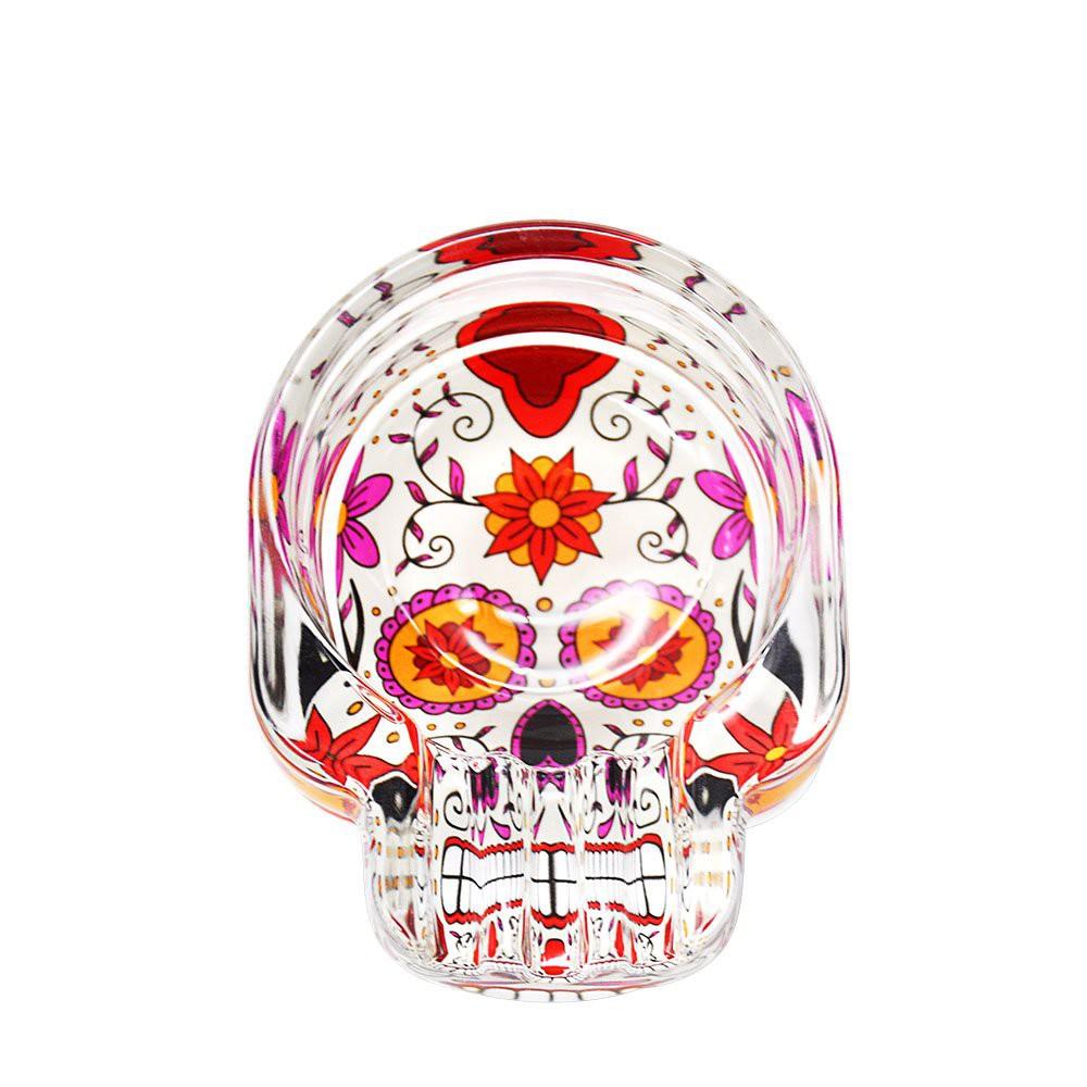 HONEYUFF Handmade Sugar Skull Shae Glass Ashtray Three Cigarette Ash Holder Cigarette Ashtray Glass Cigar Ashtray#¥%¥# Q