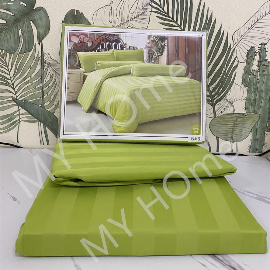 ที่นอน topper™ผ้าปูที่นอน สีพื้น ลายริ้ว หรู  เหมือนแบบโรงแรม มี3 ขนาด   6ฟุต/5ฟุต/3.5ฟุต(ไม่มีผ้านวม)