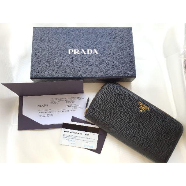 กระเป๋าตังค์ Prada Saffiano แท้ มือสอง จาก shop Paragon