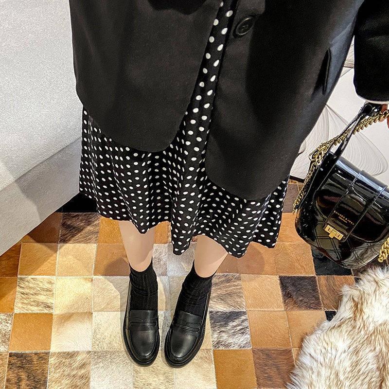 รองเท้าผู้หญิง ร้องเท้า รองเท้าคัชชู ❂Laofu รองเท้าหญิง 2021 ใหม่แบนอังกฤษรองเท้าขนาดเล็ก JK ย้อนยุคป่าสีดำรองเท้าทำงานผ